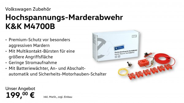 Marder-Abwehranlage (elektrotechnisch) M4700B, Multikontaktbürste, Ultraschall