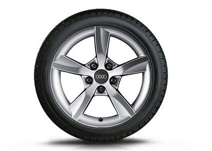 Audi A3 Winterkompletträder im 5-Arm-Rotor-Design, brillantsilber, 6 J x 16, 205/55 R 16 91H