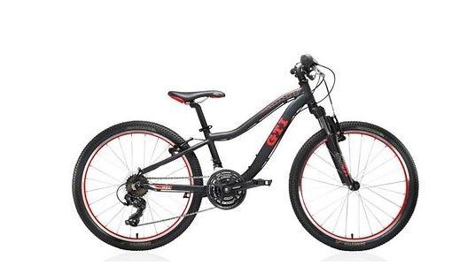 "Fahrrad Mountainbike GTI Design 24"" Mattschwarz/Rot"