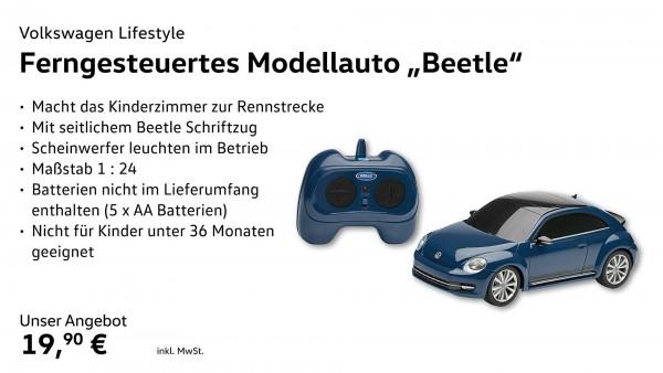 Ferngesteuertes Modellauto 1:24, Beetle, Blau,