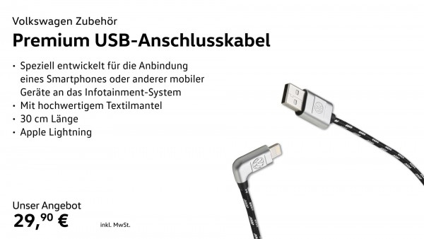 Anschlusskabel USB-A auf Apple Lightning, Premium
