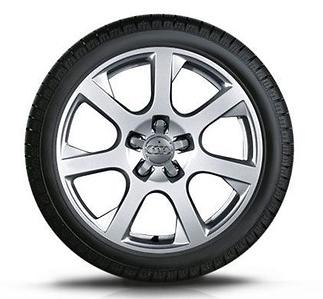 Audi Q5 Winterkomplettradsatz im 7-Speichen-Design, geschmiedet, brillantsilber, 7 J x 17, 235/65 R
