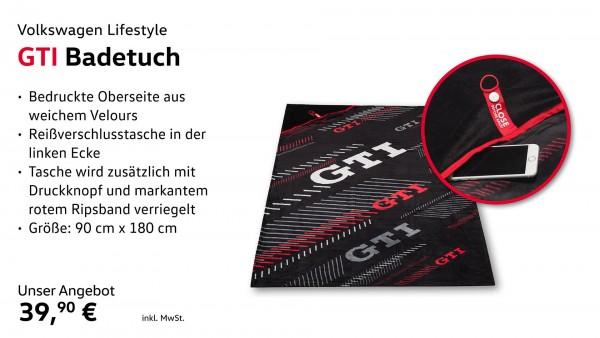 Strandtuch Schwarz/Weiß/Rot, GTI Kollektion