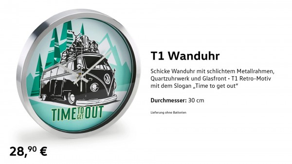 "Wanduhr T1, ""Time to get out"""