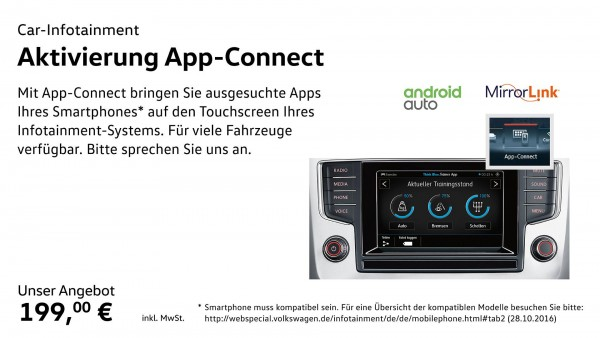 Aktivierungsdokument für AppConnect MirrorLink, Apple CarPlay, Android Autoplay